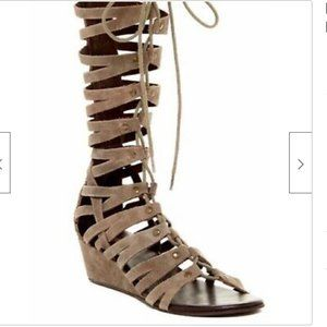 Rebels Leather Gladiator Sandal 10M Lace Up Wedge